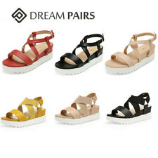DREAM PAIRS Women's Platform Wedge Sandals Summer Open Toe Ankle Strap Sandals