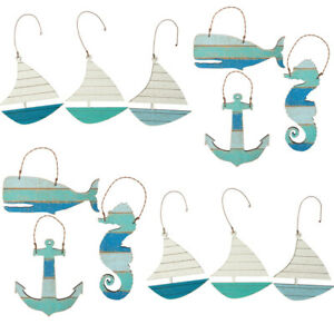 PRIMITIVES BY KATHY NAUTICAL ORNAMENTS SET of 3 SAILBOAT SEAHORSE WHALE ANCHOR