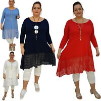 Plus Size Tunic Top 3/4 Sleeve Swingy Sidetail Hem Lace Frill Lagenlook Wolfairy
