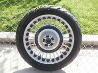 "09-20 Harley Touring Polished & Black Knuckle Wheel Rim 17x3"" Front Dunlop Tire"