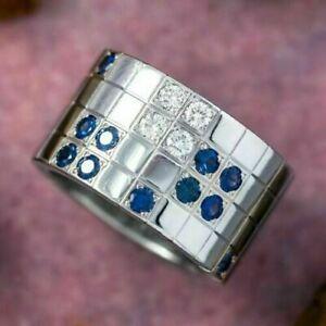 2.01 CT Diamond Men's Flush Set Wide Band Wedding Engagement Ring 14k White Gold