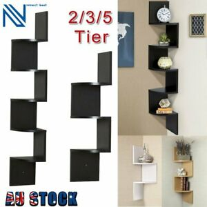 Corner Mount Shelf Wall Storage Rack Home Bookshelf Storage Home Decor 2-5 Tiers