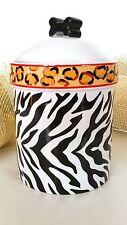 Castlemere Dog Cat Pet Food Treat Ceramic Jar zebra leopard UNUSED Canister