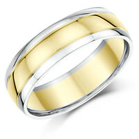 9ct Two Colour Wedding Ring Band Gold Court Shape Two Tone Rings Solid Gold