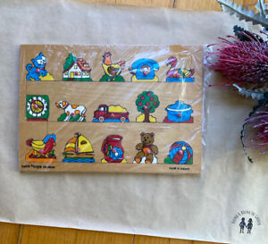 Acre Toys vintage wooden peg board puzzle made in Holland animals farm, VGUC