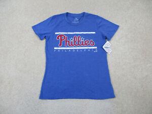 NEW Philadelphia Phillies Shirt Women Large Blue Red Baseball Cotton Ladies A73*