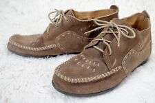 Minnetonka Moccasins 193 Women's Lace up Stitched Suede Leather Brown Size 9