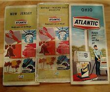 Set is 3 60's Atlantic Oil Company ROAD MAP New Jersey, Buffalo NY, Ohio