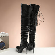 Damen Schuhe 40 46 47 Overkneestiefel 39 Sexy Stilettos Platform Heels Gr.33-48