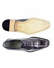 Belvedere Mens Lace Shoes Onesto II Genuine Ostrich Crocodile Navy Blue 1419