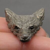 """Howling Wolf Statue Natural Gemstone Pyrite Pendant Carved Necklace Jewelry 1.6/"""""""