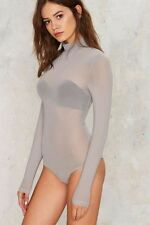 Hera Collection By Nasty Gal Mock Me Over Sheer Bodysuit - Gray Size M