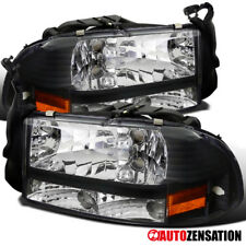 Dodge 97-04 Dakota 98-03 Durango Crystal Black Headlights Pair