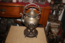Antique Victorian Silver Metal Tilting Coffee Teapot With Stand Base-Symbols