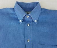 👔  MAUS & HOFFMAN Mens Blue Linen Long Sleeve Button Down Shirt Size Medium