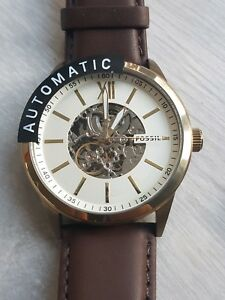 New Fossil Men's Watch Automatic Wrist Watch BQ2382 Leather Brown Gold  RRP £239
