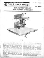 Delta Rockwell  'Super 990' & 'Super 990-10' Radial Saw Instructions