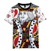 Mens Poker King Queen Bandana Graphic Playing Cards 3D Print Loose T-shirt Tops