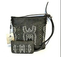 Montana West Concealed Carry Purse Wallet Set Embroidery Western Crossbody Bag