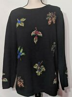 Women's Black Wool Blend Embroidered Pullover Sweater Cold Water Creek Size M