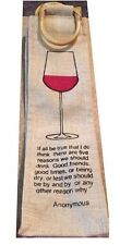 Wine Bottle Tote Sturdy Party Bamboo Burlap Gift Bag 🍷