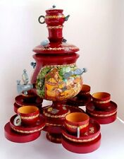VINTAGE RUSSIAN SAMOVAR w/ CUPS SAUCER WOOD HANDMADE TEAPOT PAINTED 1990s