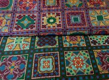 Vintage Mosaic Fabric Cotton Tile Squares Cheater Quilt Purple BLUE GREEN Choice