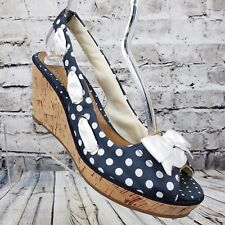 SPERRY TOP-SIDER Women's Blue & White Polka Dot Wedge Sandals US Size 9.5 M Bow