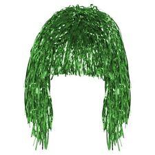 Green Tinsel Wig  70,s 80,s Shiny Metallic Foil  Fancy Dress Costume Accessory