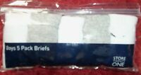 Boys 5 Pack Boys Briefs in White or White + Black or Grey 2-3 or 5-6 years