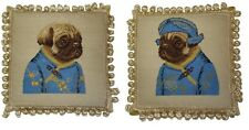 Pair of Needlepoint Dog Pug Girl and Boy in Blue Ancient Chinese Dress Pillow