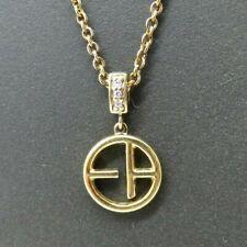 """New Genuine Emporio Armani Sterling Silver Gold Pave Set Pendant 16""""-18"""" Chain"""