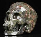 "Huge 4.9"" Dragon Blood Jasper Carved Crystal Skull, Realistic, Crystal Healing"