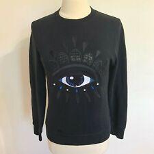 AUTH Kenzo Paris Eye Embroidery Crewneck Sweatshirt Black Blue Eye Size XS