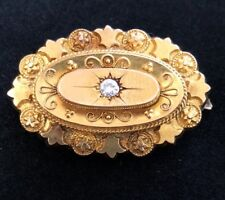Diamond Set Brooch Locket Fine Victorian Etruscan 15ct Gold