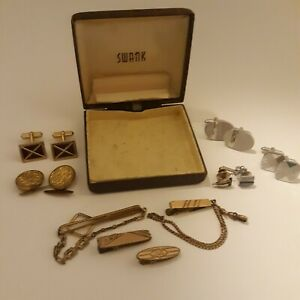 Lot 4 Cufflinks 4 tie bars 2 tie pins Vintage Some Swank with box has issues