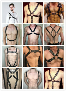 Mens Faux Leather Chest Body Harness Strap Clubwear Costume BDSM Punk Belt