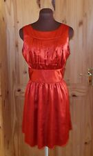 VICKY MARTIN tomato red orange satin short skater party evening dress 12 40
