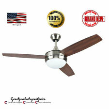 "Harbor Breeze 44"" Brushed Nickel Downrod Close Mount Indoor Ceiling Fan, Remote"