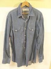 Vintage Genuine ROEBUCKS Denim Western Shirt Pearl Snaps Ranch Trucker XL