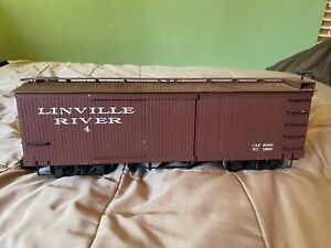 Bachmann G Scale Linville River Boxcar 4 - Metal Wheels Wood Sided Box Car
