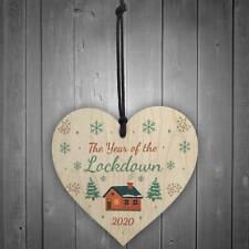 """2020 TheYear of the Lockdown"" Christmas Wood Ornaments Xmas Door Hanging Decor"