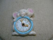 Vintage Avon Mouse Clock Brooch/Pin, 1974, moving hands, Plastic