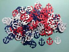 """Nautical Anchors Confetti Lot of 150 Die Cuts in Navy Blue, Red & white 1"""" H"""
