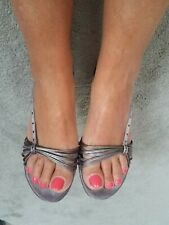 Clarks Shoes Size 5 Silver Mid Heel Party Wedding Sling Back Strapy Sandals