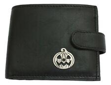 Pumpkin Leather Wallet BLACK Card Slots Mens Present Halloween Gift 410