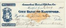 1901 Cancelled Check City Bank of Hartford Connecticut Mutual Ins. Revenue Stamp