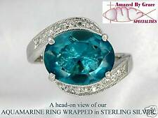 Large Sterling Silver AQUAMARINE Blue Solitaire Ring w Clear Accents - sz 8