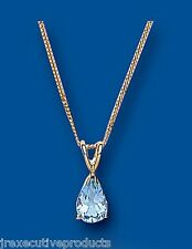 Blue Topaz Pendant Blue Topaz Necklace Yellow Gold Blue Topaz Pendant Pear Stone