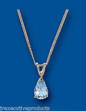 Topacio Azul Colgante Collar Oro Amarillo Pera Piedra